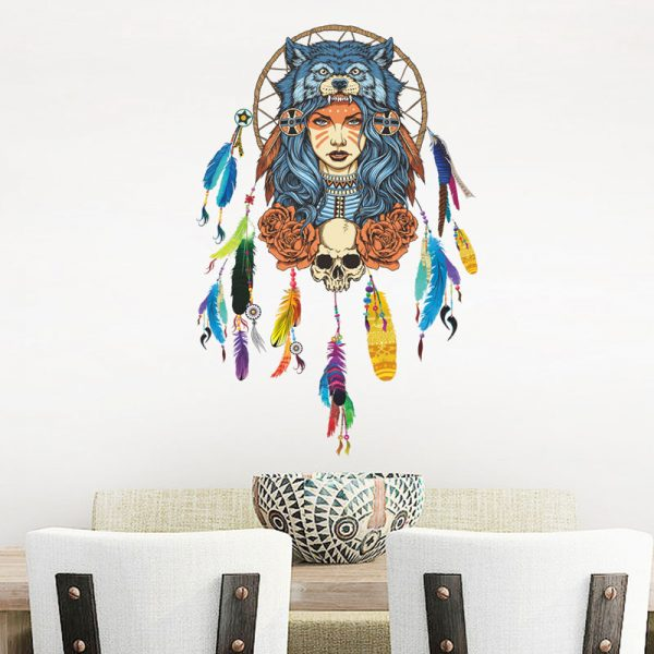 Indian wolf headdress full color girl stickers home decor pvc wall sticker 1
