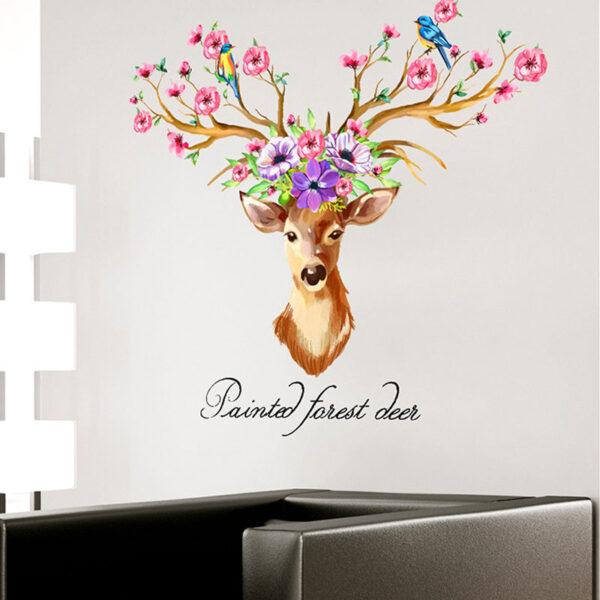 DIY Sika Deer Head Flowers Wall stickers 2