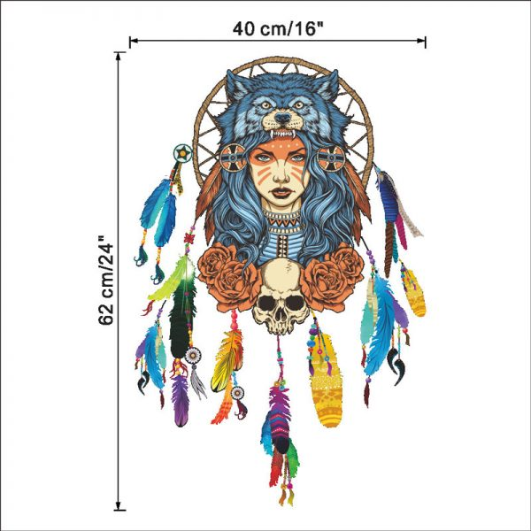 Indian wolf headdress full color girl stickers home decor pvc wall sticker 6