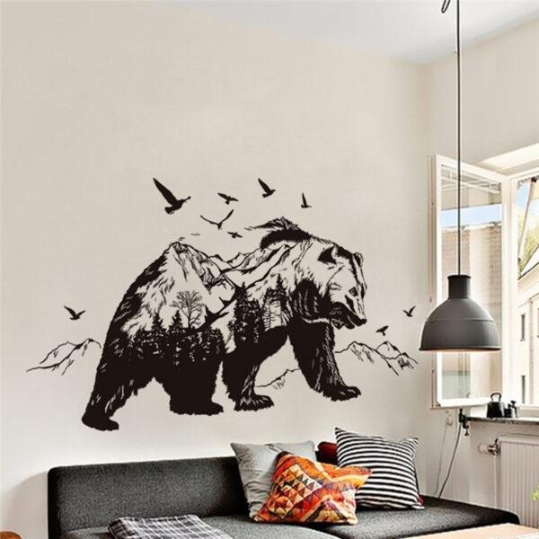 Large Black Bears Fish Mountain Wall Sticker 3