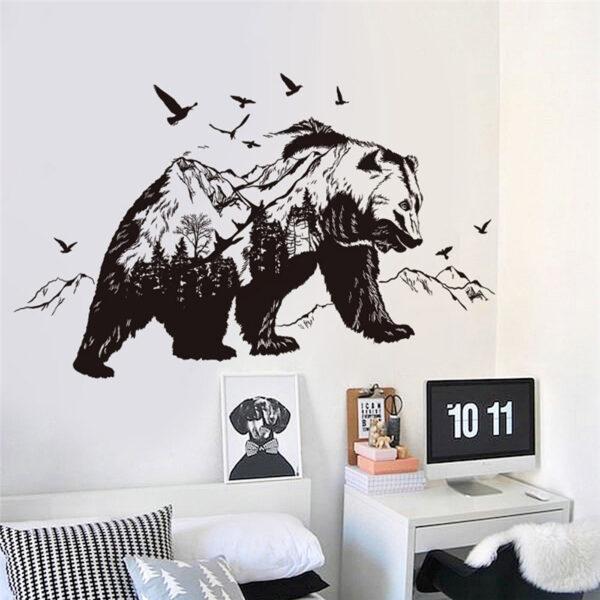 Large Black Bears Fish Mountain Wall Sticker 6