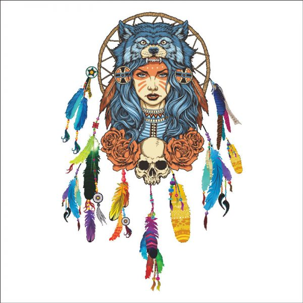 Indian wolf headdress full color girl stickers home decor pvc wall sticker 3