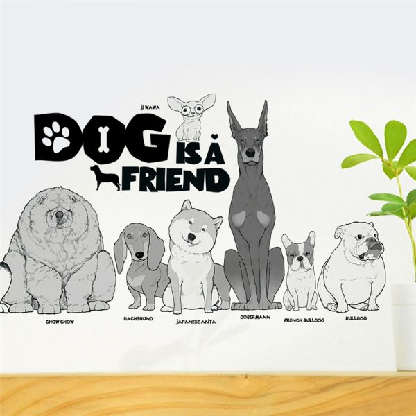 Dog is a friend cartoon animal wall decals diy mural art pvc removable posters 2