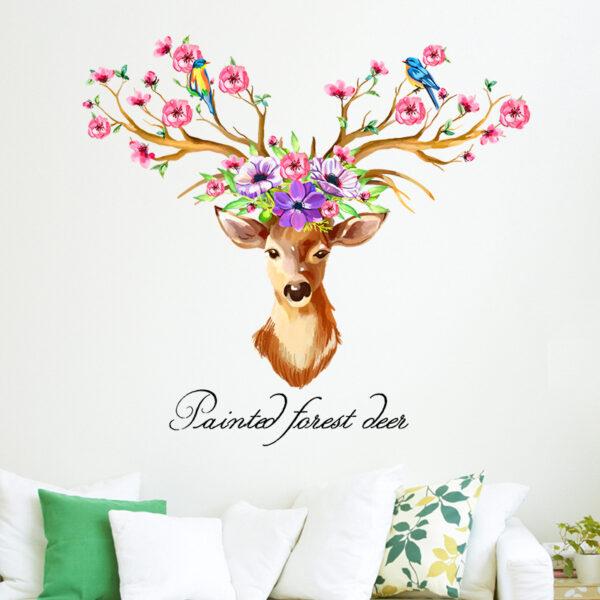 DIY Sika Deer Head Flowers Wall stickers 1