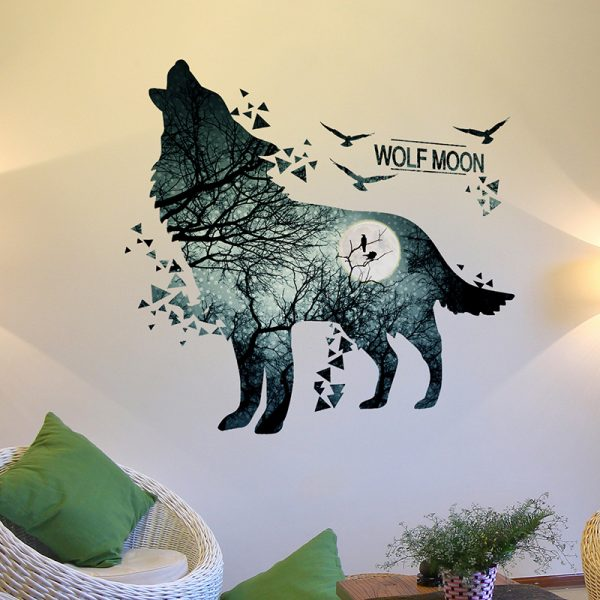 Wolf Moon Wall Stickers PVC Material DIY Forest Tree Branch Birds Wall Poster 3