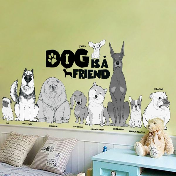Dog is a friend cartoon animal wall decals diy mural art pvc removable posters 3