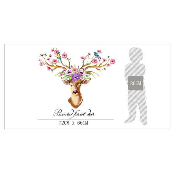 DIY Sika Deer Head Flowers Wall stickers 6