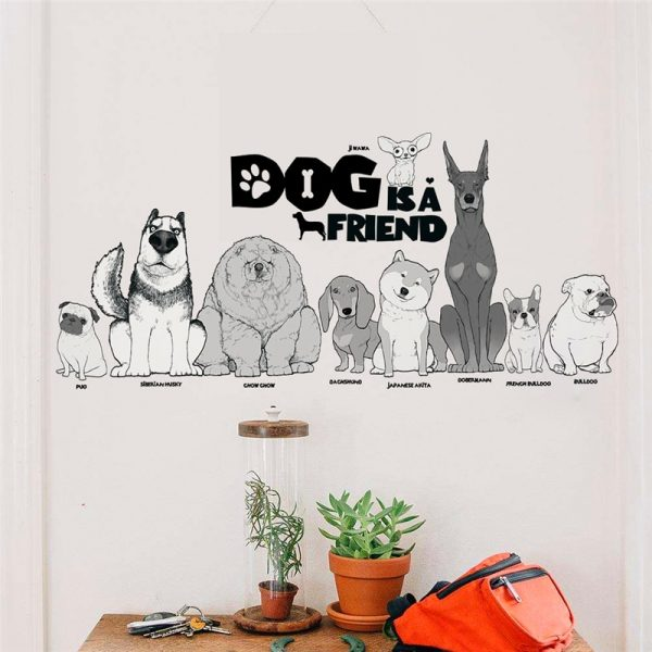 Dog is a friend cartoon animal wall decals diy mural art pvc removable posters 6