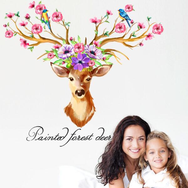 DIY Sika Deer Head Flowers Wall stickers 4