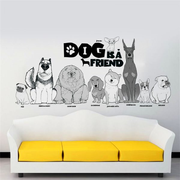 Dog is a friend cartoon animal wall decals diy mural art pvc removable posters 4