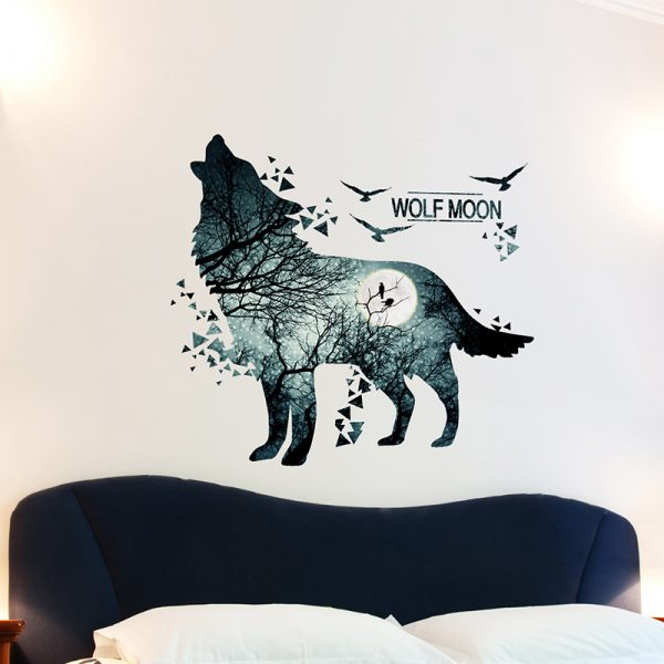 Wolf Moon Wall Stickers PVC Material DIY Forest Tree Branch Birds Wall Poster 5