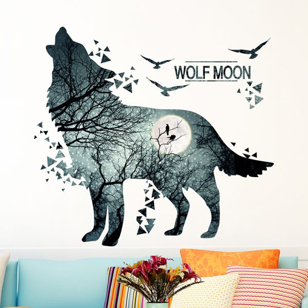 Wolf Moon Wall Stickers PVC Material DIY Forest Tree Branch Birds Wall Poster 6