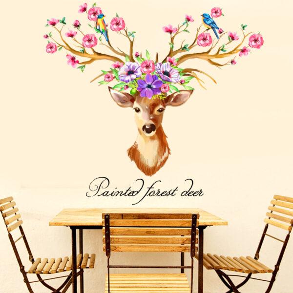 DIY Sika Deer Head Flowers Wall stickers 3