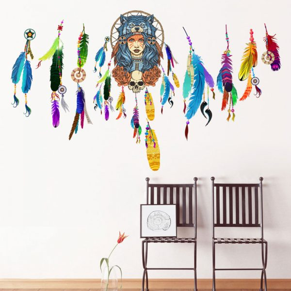 Indian wolf headdress full color girl stickers home decor pvc wall sticker 4