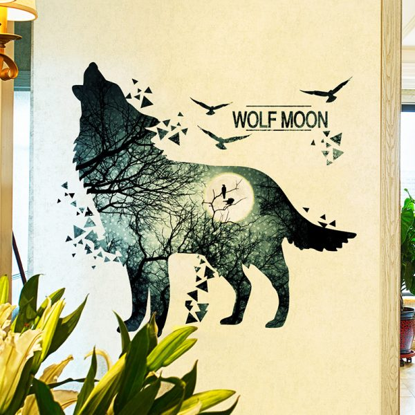 Wolf Moon Wall Stickers PVC Material DIY Forest Tree Branch Birds Wall Poster 4