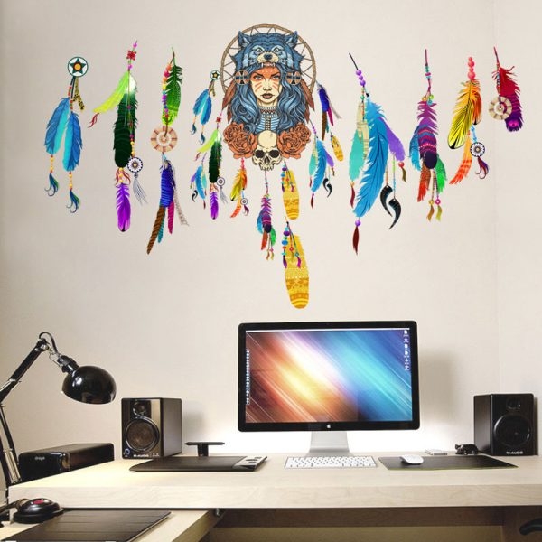 Indian wolf headdress full color girl stickers home decor pvc wall sticker 5