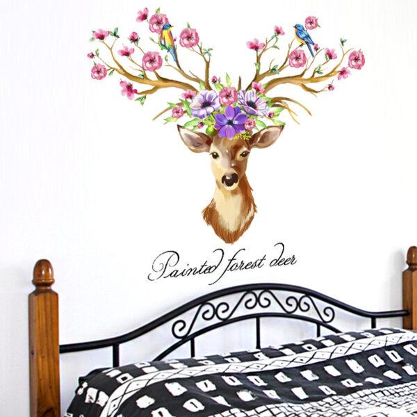 DIY Sika Deer Head Flowers Wall stickers 5