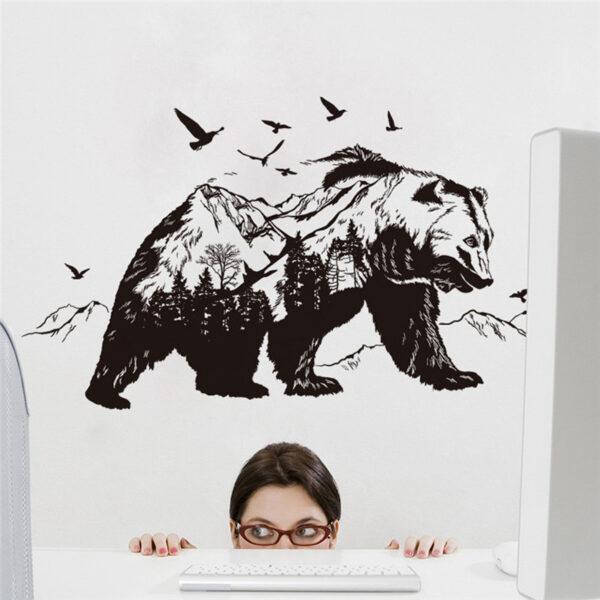 Large Black Bears Fish Mountain Wall Sticker 5