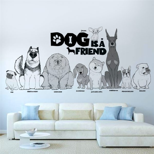 Dog is a friend cartoon animal wall decals diy mural art pvc removable posters 1