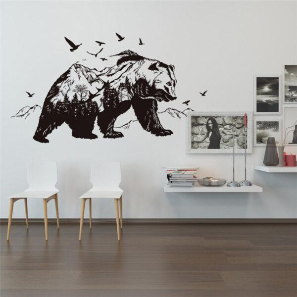 Large Black Bears Fish Mountain Wall Sticker 4