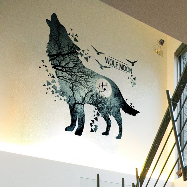 Wolf Moon Wall Stickers PVC Material DIY Forest Tree Branch Birds Wall Poster 2
