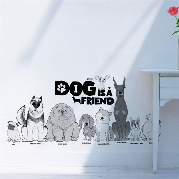 Dog is a friend cartoon animal wall decals diy mural art pvc removable posters 5