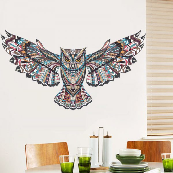 COLORFUL Owl Rooms Decorations Birds Flying Animal Vinyl 4