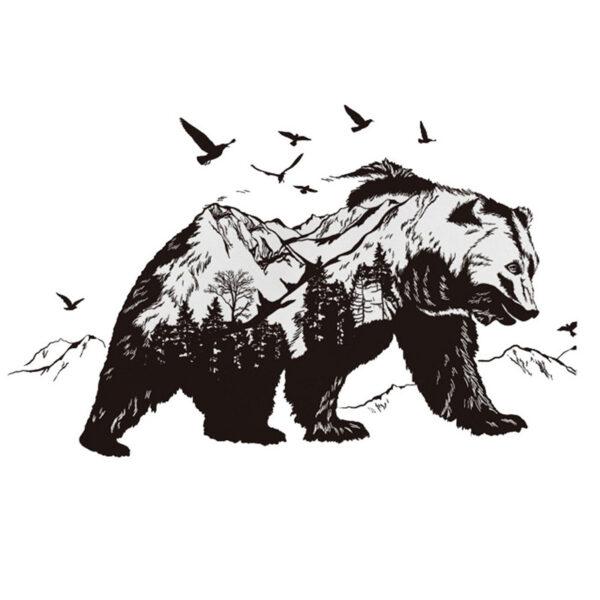 Large Black Bears Fish Mountain Wall Sticker 2