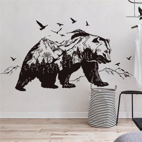 Large Black Bears Fish Mountain Wall Sticker 1