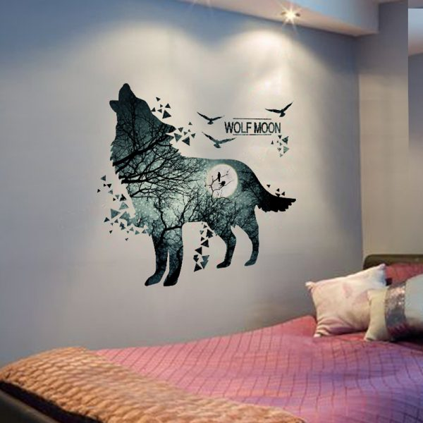Wolf Moon Wall Stickers PVC Material DIY Forest Tree Branch Birds Wall Poster 1