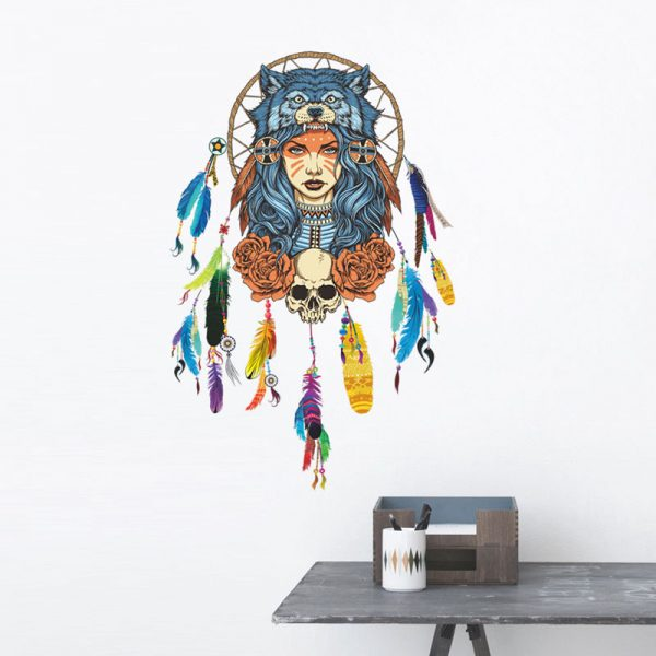 Indian wolf headdress full color girl stickers home decor pvc wall sticker 2