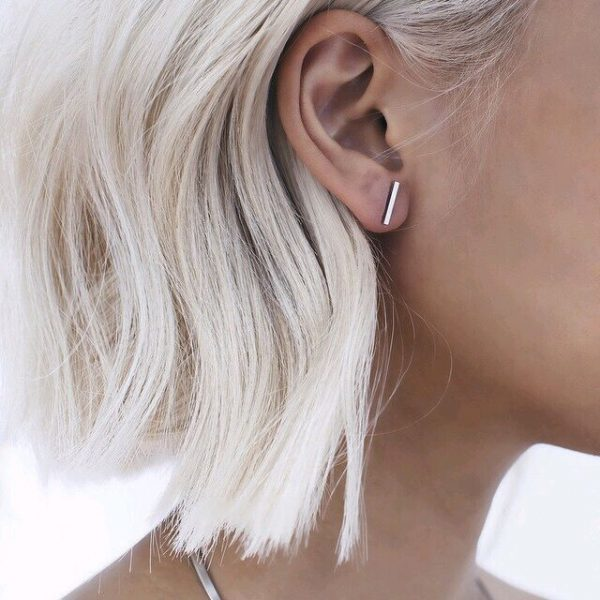 Fashion Punk Simple T Bar Earrings For Women Ear Stud Earrings Jewelry Geometry Girl Accessories 2