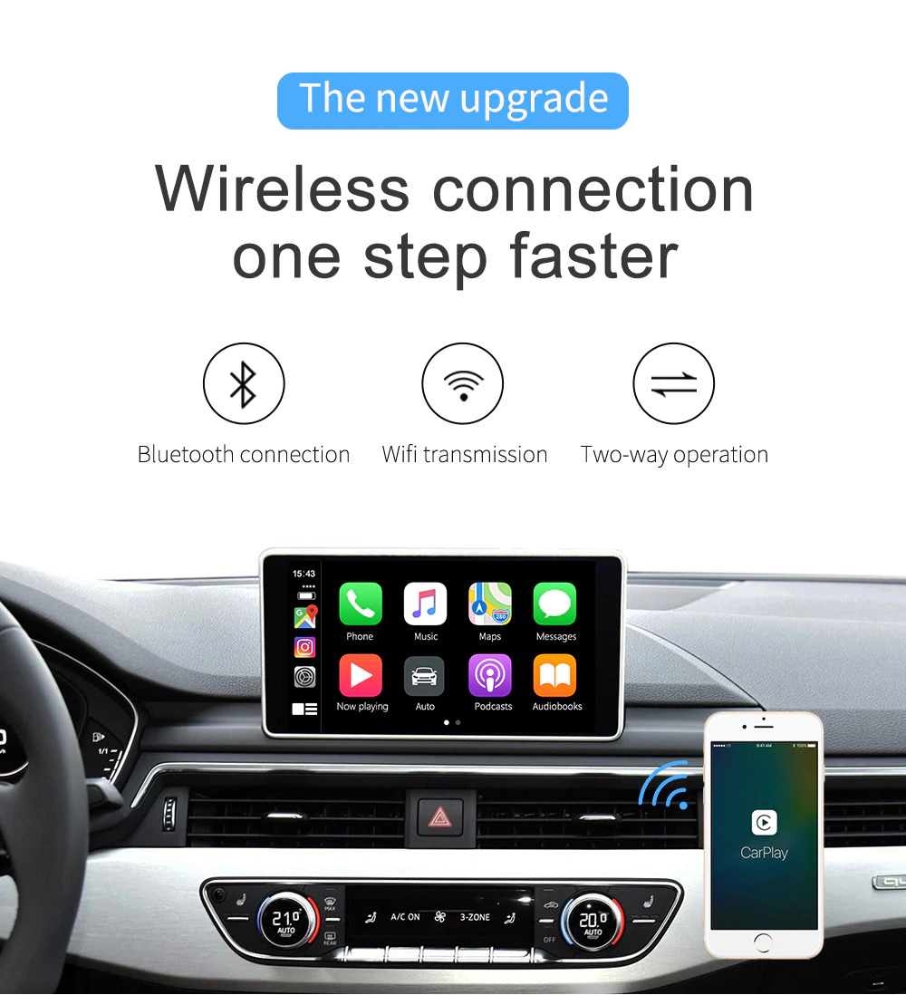 CarPlay adapter to convert wired CarPlay to wireless for original car head unit 14